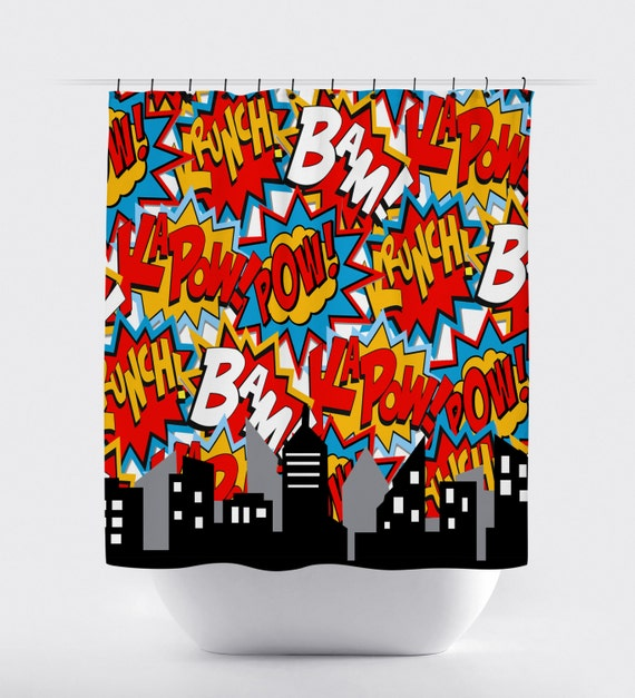... shower curtain, comics bubbles red blue shower curtain, curtain, home