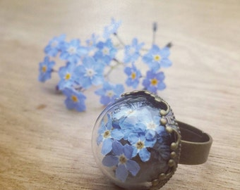 Forgetmenots ring, myosotis ring, Forget me not ring, Forget me not, dried flowers jewels