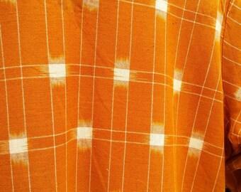 SALE - VINTAGE 70s Ikat dress Kaftan small Goldenrod Orange Cotton Festival Boho