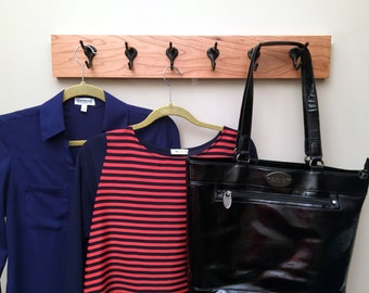 Wall Mounted Coat Rack - Hat Rack - Handmade Wood Coat Rack - Wood Rack with Hooks - Cherry Wood - Six Hooks