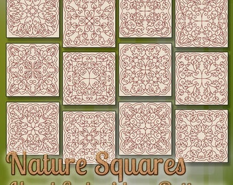 SALE Hand Embroidery Patterns Redwork Designs Nature Squares in 4 Sizes PDF Instant Download