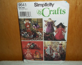 Vintage Simplicity Craft Pattern 9641 Angel Tree Topper, Ornament, Wallhanging,Uncut