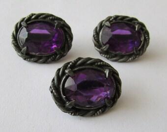 3 Vintage Purple glass Metal Buttons