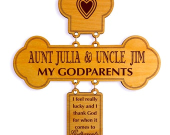 Gift to God Parents, Custom Thank You Cross, Personalized God Parents Keepsake, God Parent Appreciation Gift, Grateful to my God Parents.