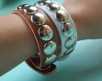 Faux Leather Black, White, & Beige Studded Cuff Bracelets
