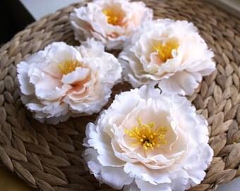 Peony Flower Head, Cream Peonies, Pastel Peach Peony Wedding Decoration Fabric Peony Artificial Flower DIY Silk Imitation flowers pink peony