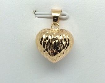 18K Yellow Gold Puffy Diamond Cut Heart Pendant