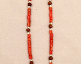 Natural Undyed Red Coral Necklace with Wood and Accented with Sterling Silver