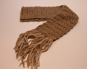 Long Thick Light Brown Colored Scarf