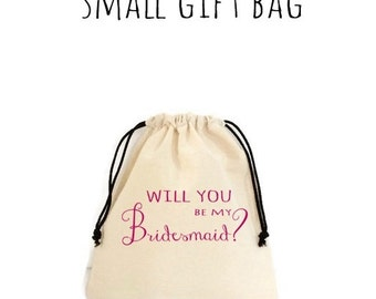 Will You Be My Bridesmaid Bride Natural Cotton Gift Bag Cosmetic Bag