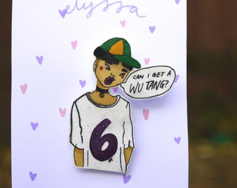 Hip Hop Girl Hand Illustrated Brooch - Wu Tang Clan