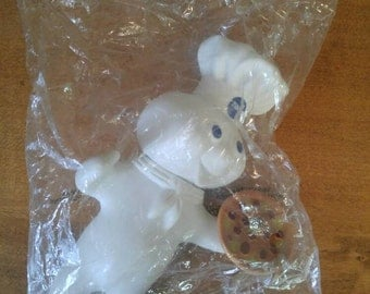 Vintage 1971 Pillsbury Doughboy Toy Doll with Pizza and Still in Package. Advertising Fun!