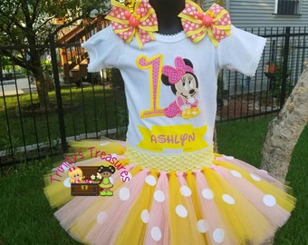 Minnie Birthday Outfit,First Birthday Outfit,First Birthday Tutu, Minnie Mouse Tutu,Baby Minnie,Minnie Mouse Party,Minnie Birthday Shirt