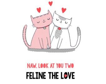 "Funny Wedding Card - ""loving felines"" cat pun"