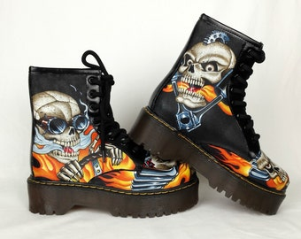 Skull shoes.skull and flames boots. fabric covered shoes. handmade and unique funky goth punk shoes