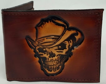 Skull with Hat Bifold or Trifold Leather Wallet B1811