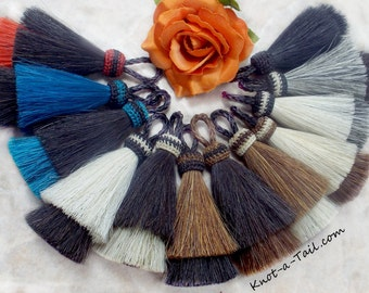 Horse hair tassel  Double layer Natural horse hair colors or Bold combinations in all  natural horse hair colors 4 inches horsehair tassel