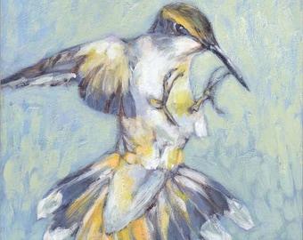 """HUMMINGBIRD ~ fine art Giclée PRINT 6"""" x 6"""""""