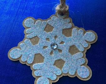 6 Handmade Christmas Snowflake gift tags