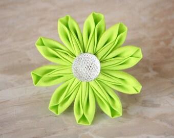 Lime Green Daisy Fabric Kanzashi Flower Dog Collar Accessory