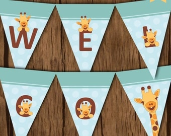 Giraffe Baby Shower Party Banner, Giraffe Party Banner, Giraffe Printables