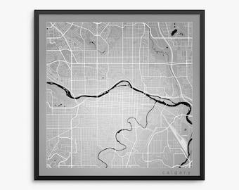 Calgary Street Map, Calgary Canada, Modern Art Print, Calgary Alberta, Calgary Map, Calgary Gift Idea, Calgary Decor, Calgary Wall Art