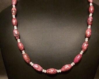 Clearance Delicate but elegant pink/mauve necklace