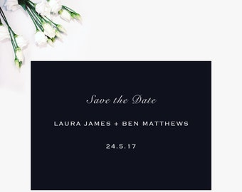 Simple Navy Blue Save the date Wedding Postcard, 'Laura' Collection, wedding invitations, wedding invites,