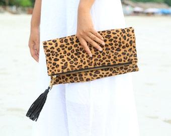 Cheetah camel, Leopard fold over clutch, leopard print leather clutch, calf hair zipper clutch, leather clutch, cow hide leather clutch