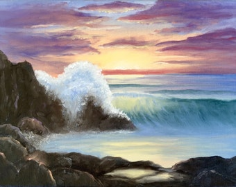 """Original seascape oil painting """"Laguna Sunset"""" - 10"""" x 8"""" oil on canvas sold by artist"""