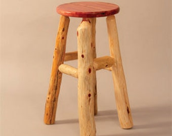"Rustic Red Cedar Log Bar Height Kitchen Stool -  30"" - Amish Made in USA - Model# WWR01-007-30RC - Free Shipping!"