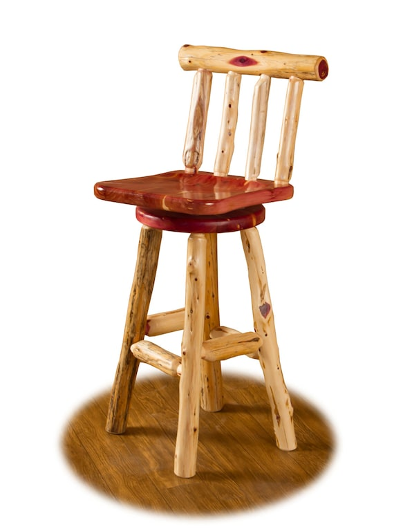 Rustic Red Cedar Log Swivel Bar Stool With Back 24