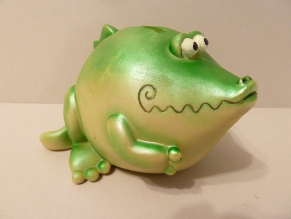 Green dinosaur coin bank hard plastic material a great - Dinosaur piggy banks ...