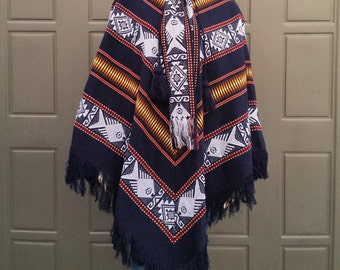 Vintage Wool Poncho Handcrafted in Ecuador with attatched neck scarf