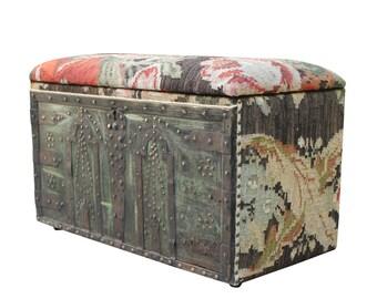 Kilim Storage Box, Floral, Vintage Upholstered Bench, Boho Furniture, Kilim Bench