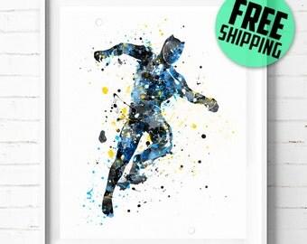 Superhero Black Panther print, Superhero watercolor art, Black Panther art, Black Panther poster, Marvel Superhero wall art [480] decor