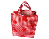 Gift bag white and red grille and heart Cottage chic Eco friendly fabric wrapping Cotton gift bag Valentine's Day Gift bag 19x16x7cm