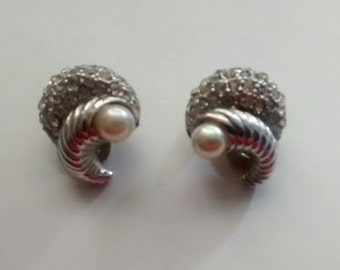 Vintage Silver Tone Earrings with Clear Rhinestones and Faux Pearls