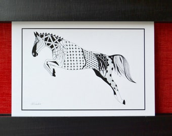 Horse Cards, Horse Greeting Cards, Blank Cards, Horse Jumping, Horse Note cards, Zentangle Art, Horse Art, Zentangle Cards - 5 pack of cards
