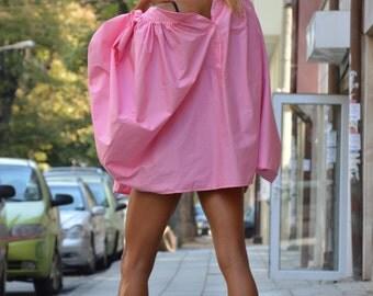 Extravagant Womens Pink Shirt, Oversize Cotton Maxi Shirt, Loose Party Shirt, Asymmetric Shirt By SSDfashion