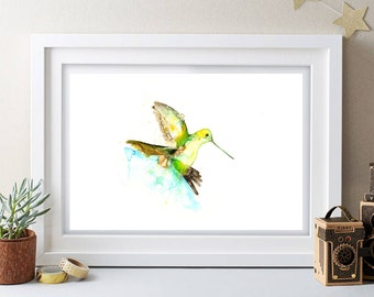 Humming bird Contemporary Watercolour ART PRINT Original LIMITED Edition Signed Watercolour 300 gsm Paper Free Shipping To United Kingdom