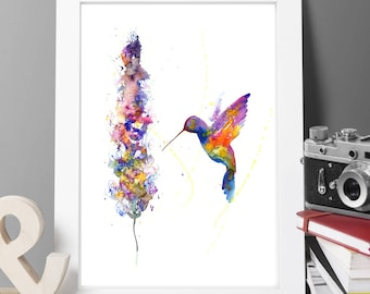Humming bird painting,watercolor painting,large signed painting,vintage painting,home painting,animal paitning,animal, gift,buy 2 get 1 free