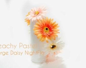 Large-Peachy Pastel Daisy NightFlo (White LED) for EDC,Coachella