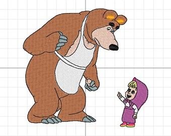Masha and the bear machine embroidery