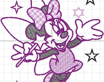 starlets Minnie with machine embroidery
