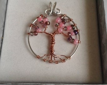 Pink Cherry Blossom Tree of Life Wire Wrapped Pendant