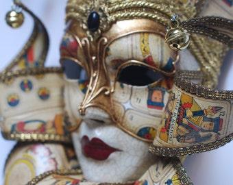 Jester Mask - White and Gold Joker - Wall-decoration- Venetian Mask - Full Face Venetian Mask (Jolly Carte)