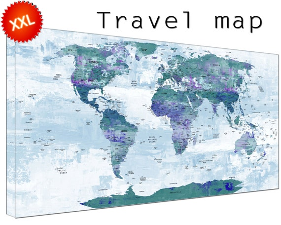 Travel map canvas wall art art print large  Travel map with countries home Office Decor print on canvas wall art