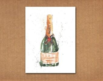 SALE! ORIGINAL watercolor painting: Champagne MOËT Chandon bottle