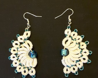 Tatted, handcrafted, lace fan earrings with beads